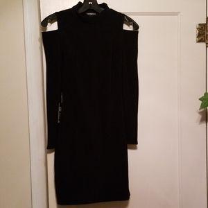Express Cold Shoulder Mock Neck Long Sleeved Dress